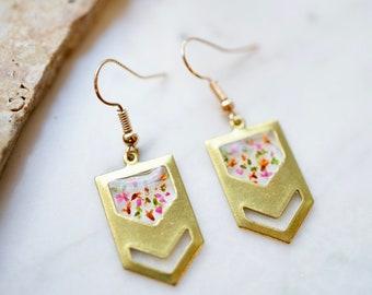 Real Pressed Flowers Earrings, Gold Chevron Drops in Pink Orange Green
