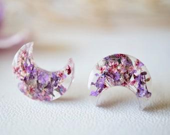 Real Pressed Flowers and Resin Celestial Moon Stud Earrings