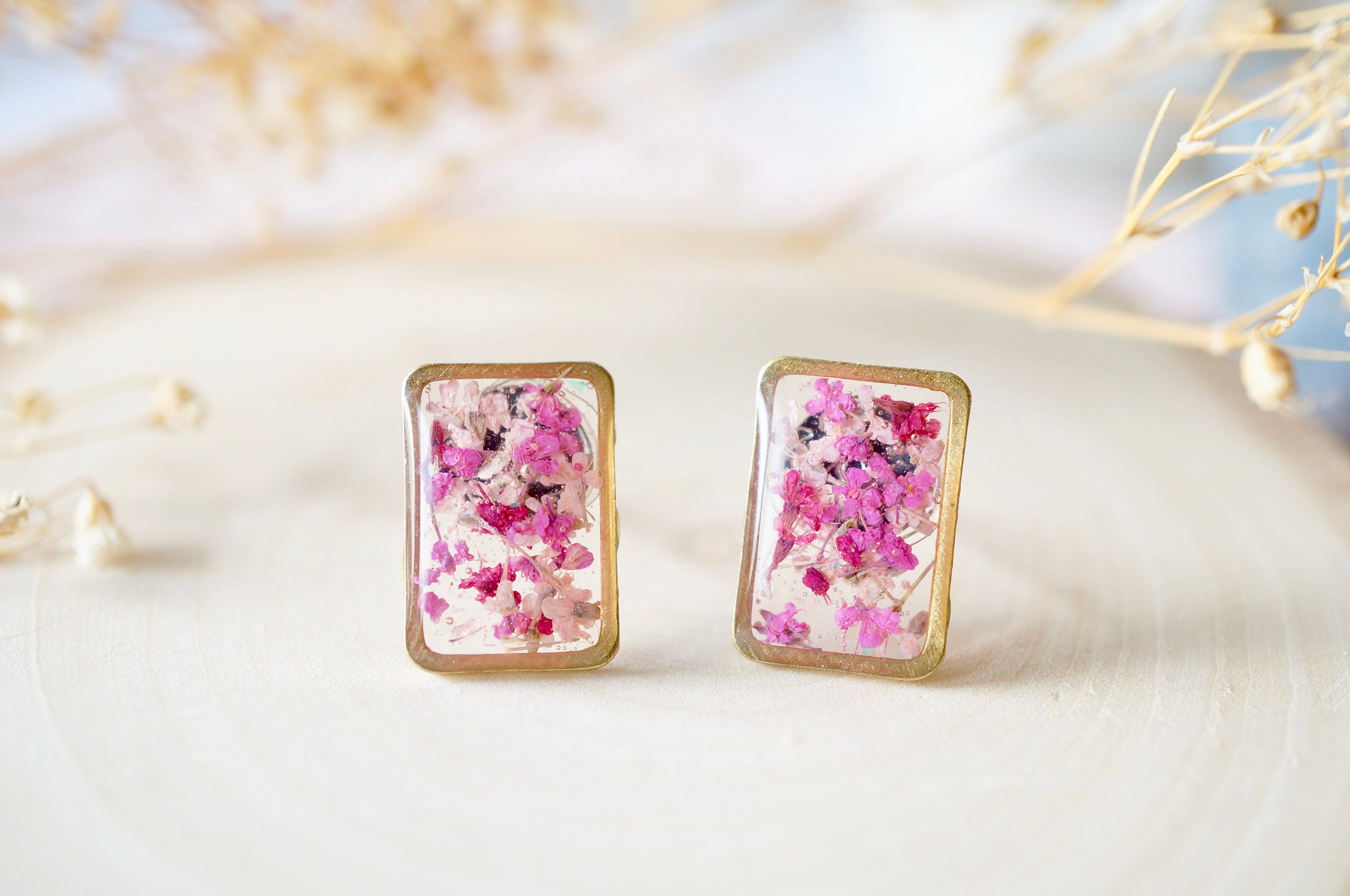 Real Pressed Flowers and Resin Stud Earrings Gold Rectangle