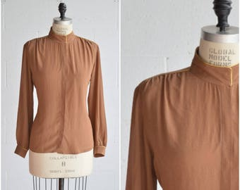 056971ead0fcb5 vintage silk blouse · coffee brown silk shirt with gold accent · button  front top · collared long sleeve shirt · medium