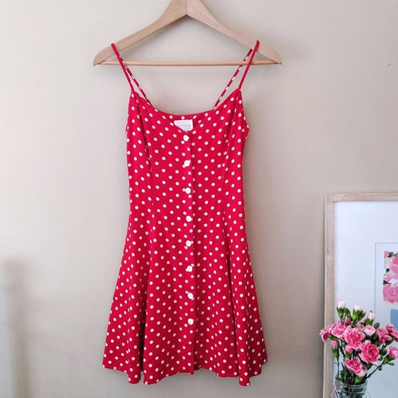 VINTAGE 1990s red & white polka dot sun dress