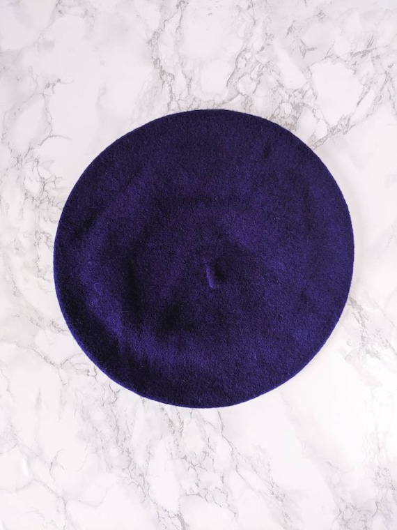 dark purple classic wool beret
