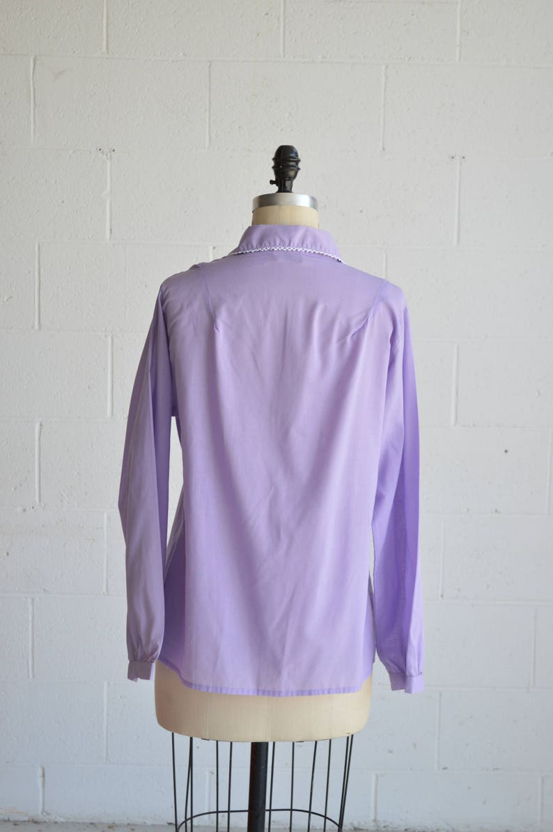 1980s long sleeve button up blouse \u00b7 women/'s collared button down \u00b7 vintage lilac work top \u00b7lace trimmed button front \u00b7 large
