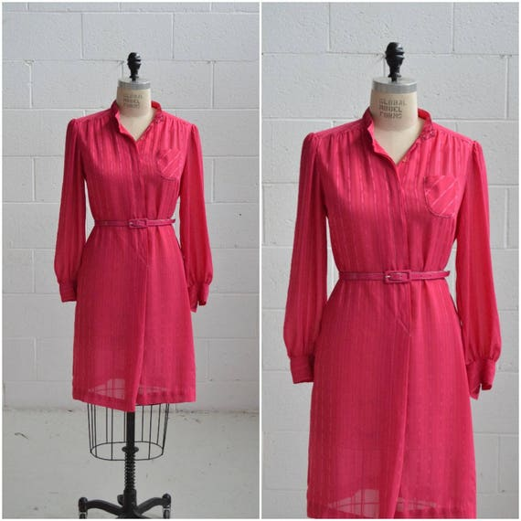 1970s fuchsia pink shirt dress · long sleeve sheer