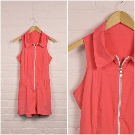 hot pink collared zipper romper, onesie jumpsuit w