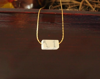 Howlite necklace, Marble Necklace, Dainty Necklace, Minimalist Necklace, White Howlite, Gold Necklace, Gold plated necklace