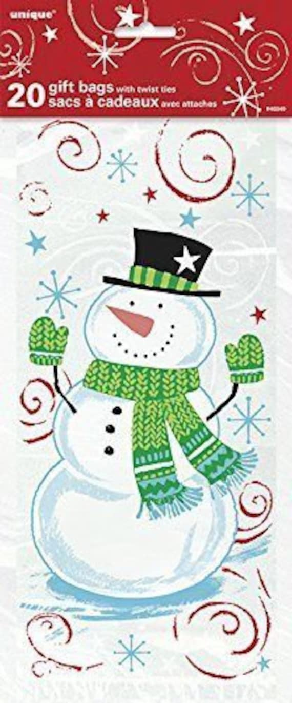 Christmas Cellophane Bags.Pack Of 20 Snowman Swirl Christmas Cellophane Bags Perfect For Homemade Christmas Gifts