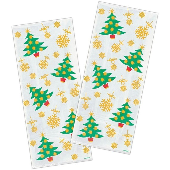 Christmas Cellophane Bags.Pack Of 20 Golden Christmas Tree Christmas Cellophane Bags Perfect For Homemade Christmas Gifts