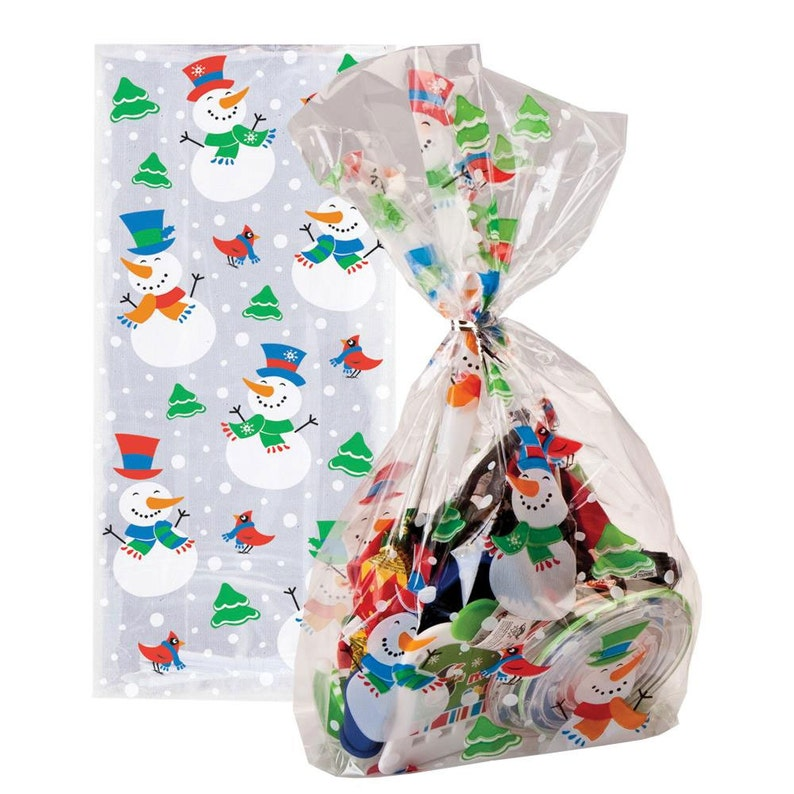 Christmas Cellophane Bags.Pack Of 20 Snowman Glee Christmas Cellophane Bags Perfect For Homemade Christmas Gifts