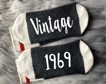 Vintage 1969 50th Birthday Sock Gift Fifty Best Friend Idea