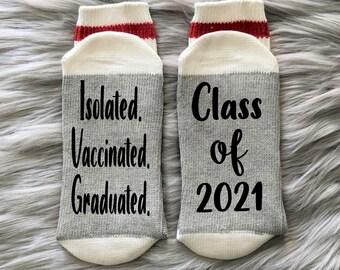 Pandemic Graduation-2021 Grad-Graduation Socks-Class of 2021-Senior Grad Gift-Covid Grad 2021