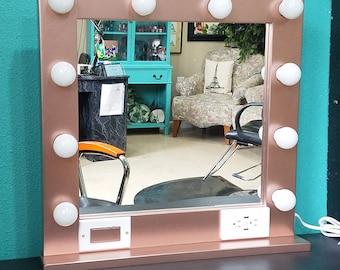 Hollywood lighted vanity mirror large makeup mirror with rose gold 24 x 24 hollywood style lighted vanity makeup mirror aloadofball Choice Image
