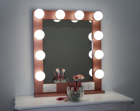 Rose Gold 24 X 28 Hollywood Style Lighted Vanity Makeup Etsy