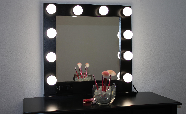 Black 24 X 24 Hollywood Style Lighted Vanity Makeup Mirror