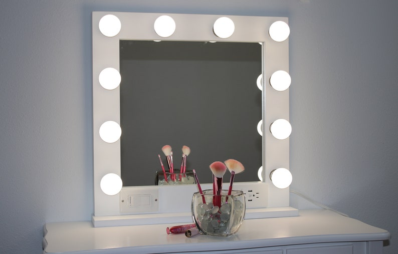 ef97cfa5183c WHITE 24 x 24, Hollywood Style Lighted Vanity Makeup Mirror