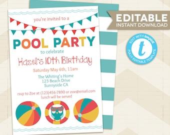 beachball invitation etsy