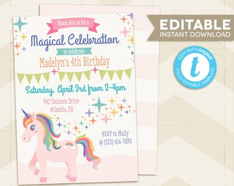 Unicorn Party Invitations Invitation Instant Download Birthday Editable Template Printable