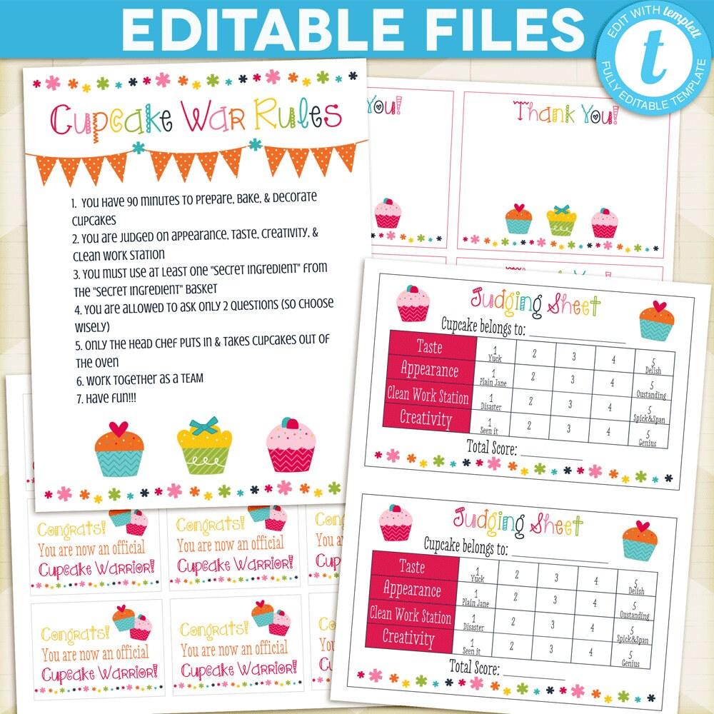 CUPCAKE Wars Party Package / Cupcake Wars Birthday Rules