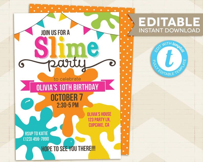 Slime Party Invitation Slime Invitation Slime Birthday Etsy
