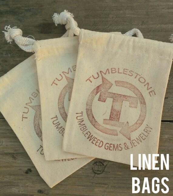 Linen Drawstring Tumblestone Bags