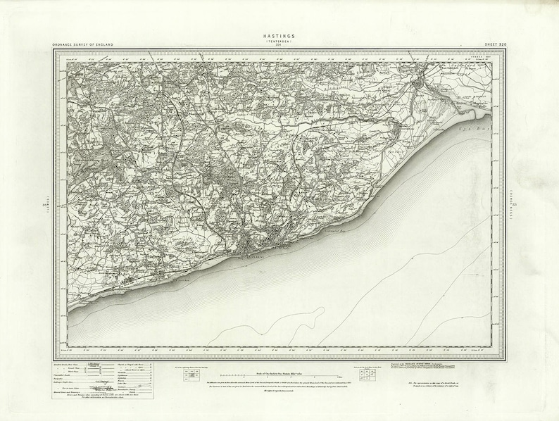 Map Of England Hastings.1871 Map Scan Hastings Bexhill Battle Winchelsea Rye Etsy