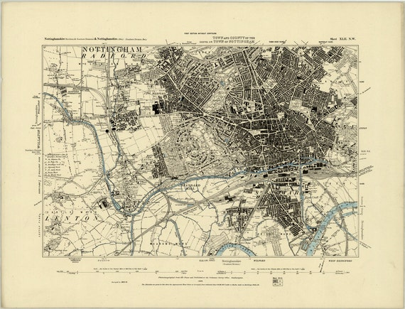 1880 Map Scan Nottingham England Uk High Resolution Scan Etsy