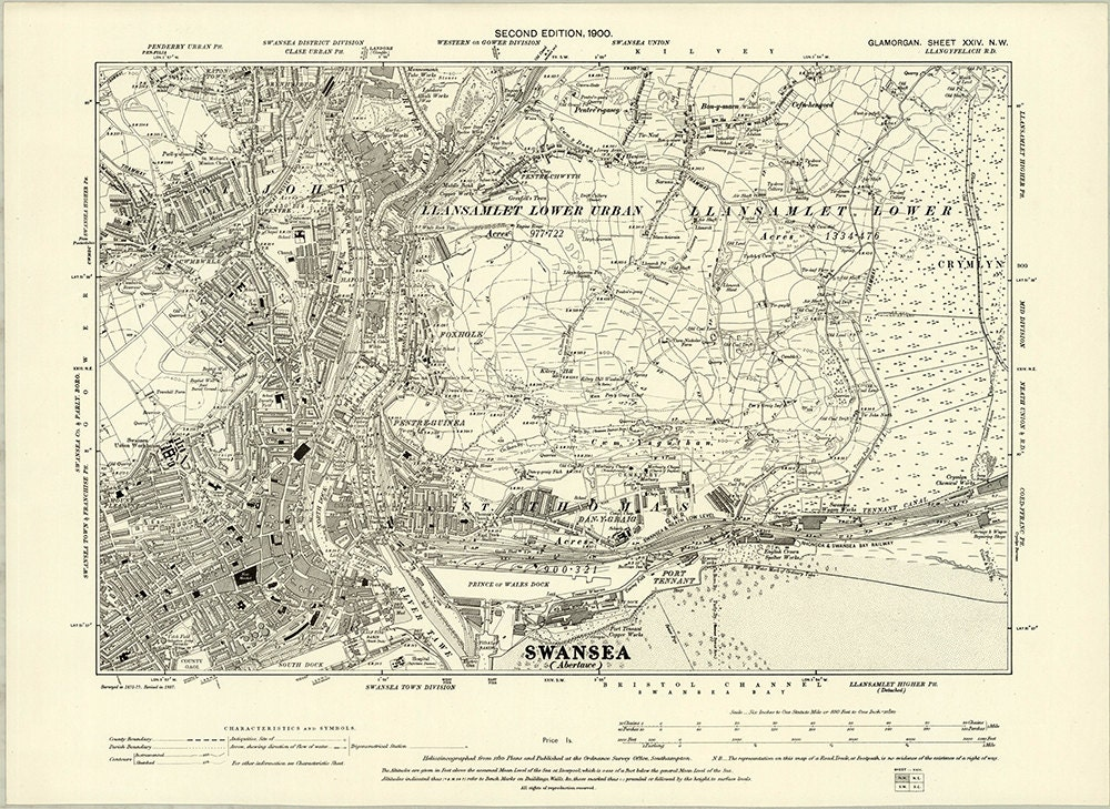 Map Of Uk 1900.1897 Map Scan Swansea Wales Uk High Resolution Victorian 19th Century Ordnance Survey Old Map