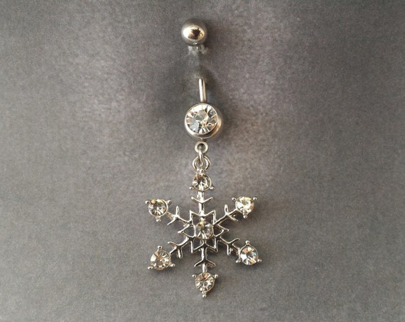 Belly Button Ring Piercing Silver Snowflake