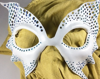 Leather Mask - White and Teal,  Masquerade for Costume / Cosplay - Handmade