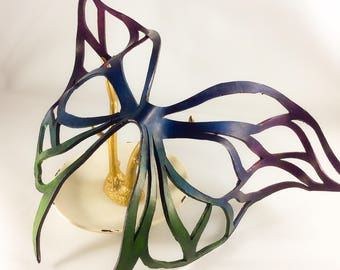 Butterfly / Rainbow/ Fantasy/ Masquerade Leather Mask, Hand-Made for Costume/ Cosplay