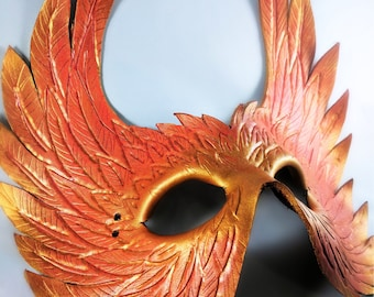 Leather Mask- Valkyrie / Phoenix / Hawkgirl / Feathered, Handmade