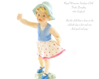 Royal Worcester Sunday's Child figurine #3518 by Freda Doughty 1953 England