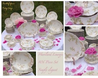 China Set  Haviland Limoges Vintage Porcelain 116 Piece Schleiger / Vintage China / Wedding China / Fine China / Floral China / French China