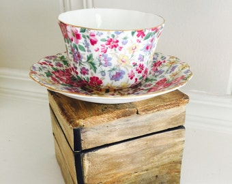 Vintage Teacup Old Royal Chintz China Teacup and Saucer / Tea Party / Fine China / Vintage China / Tea Set / Bridesmaid Gift / English China