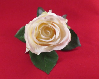 "Wedding Buttonhole; Ivory ""vintage"" rose. complete with corsage clip."