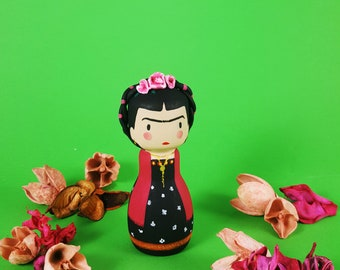 kokeshi Peg doll wooden doll Frida Kahlo handpainting