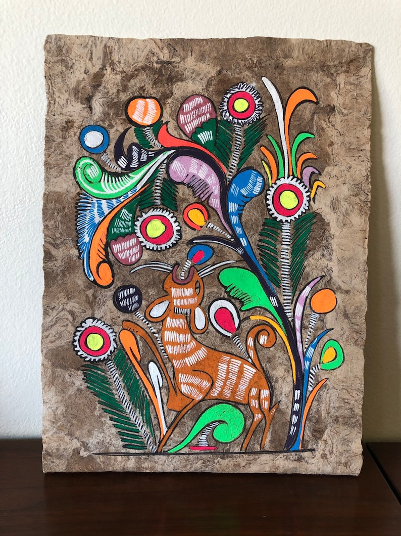 9848e161cdc35 Mexican folk art bark painting - Amate artwork