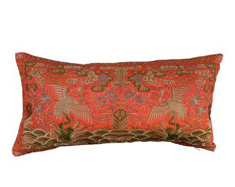 Hollywood Regency Black /& Turquoise Asian Chinoiserie Boudoir Pillow