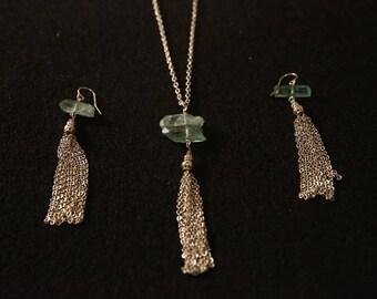 Aquamarine quartz with silver tassels