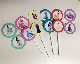 Disney Princess Cupcake Toppers, Princess Cupcake Picks, Disney Princess Birthday