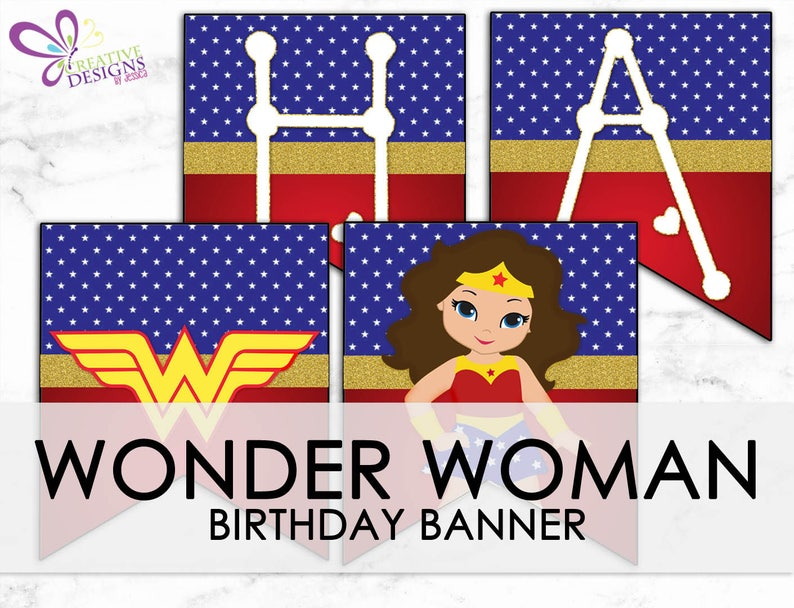 photograph relating to Wonder Woman Printable known as Speculate Lady Pleased Birthday Banner-Electronic Printable Record - Surprise Girl Occasion - Tremendous Hero Social gathering- Superhero Birthday- Fast Down load