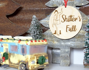 shitters full christmas vacation laser cut birchwood wood ornament holiday signchristmas tree gift toppers handmade cousin eddie rv