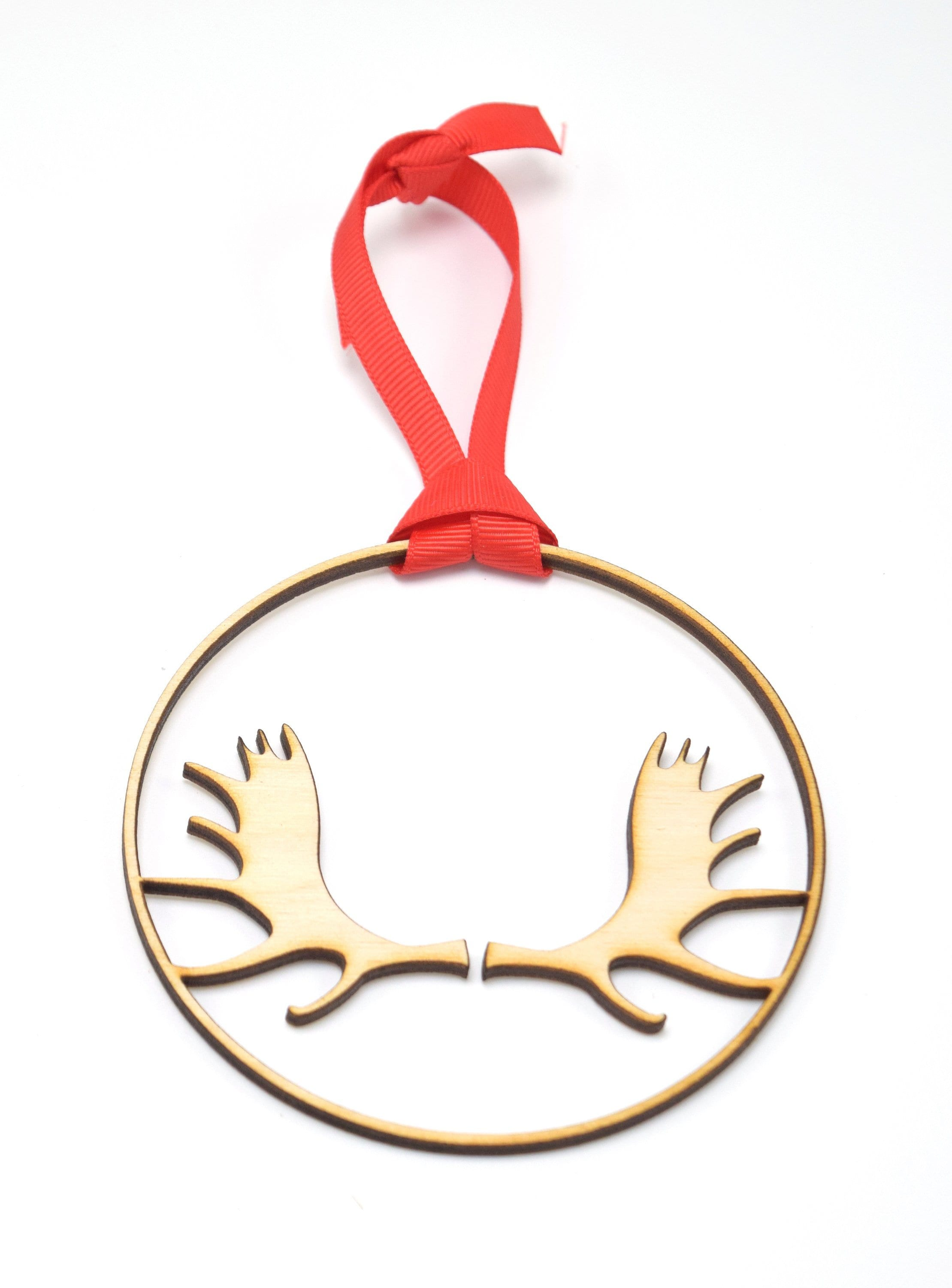 Moose Antlers Laser Cut Birchwood Wood Ornament Holiday Sign