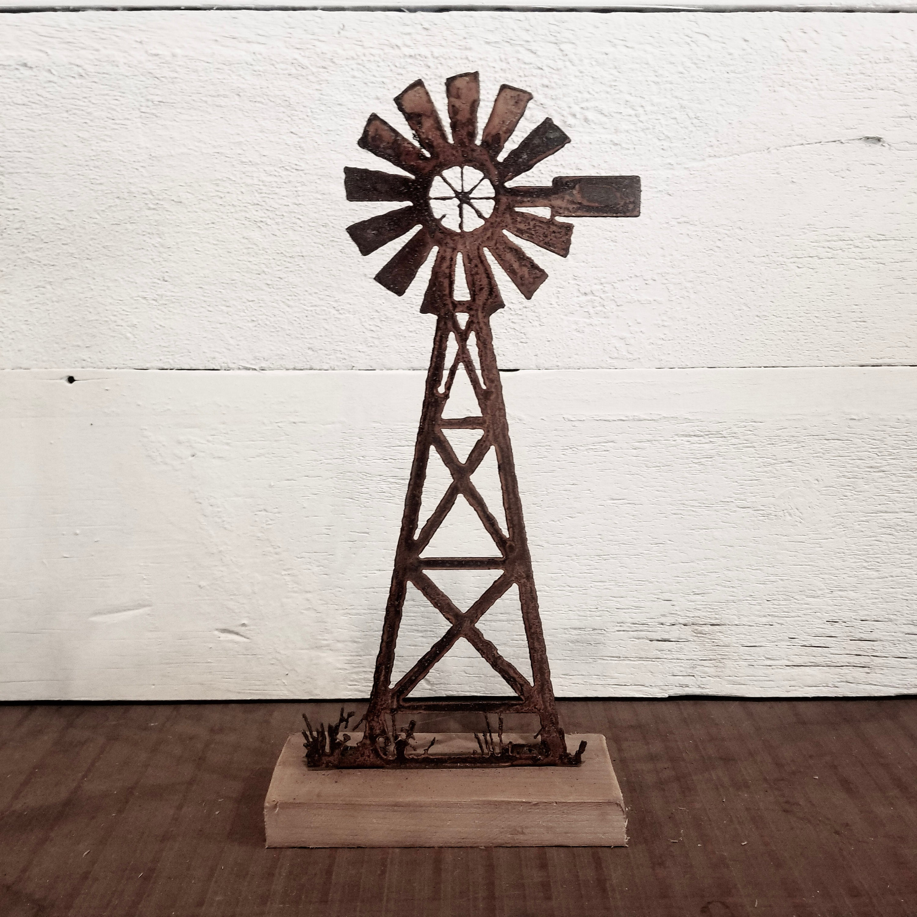 Farmhouse Rusted Metal Windmill Stand
