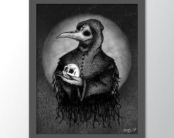 Plague Doctor - Art Print - Illustration - Tattoo Style