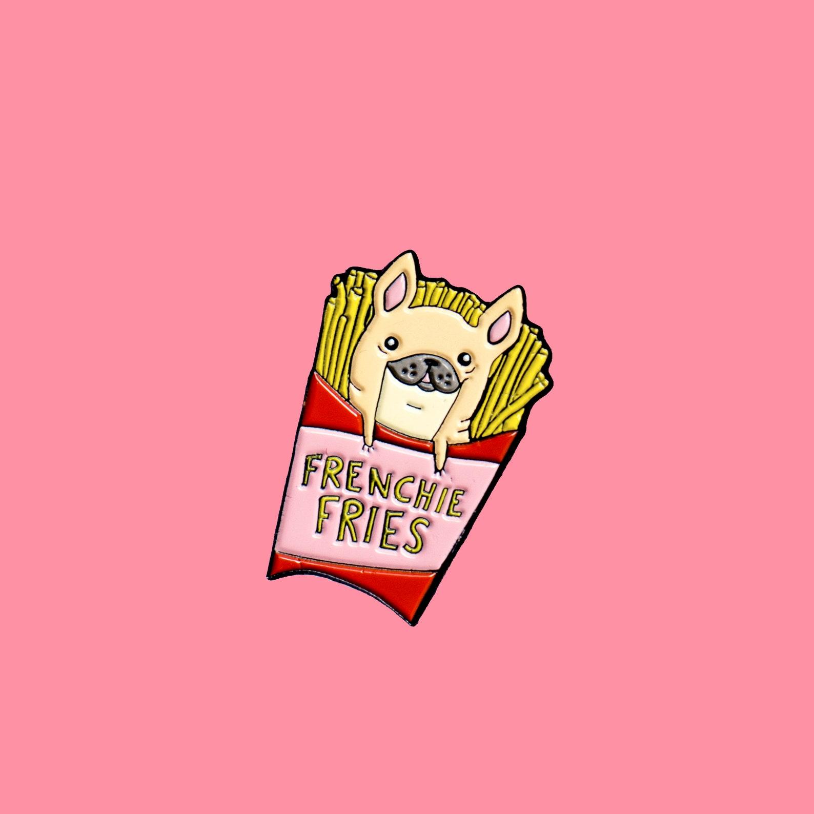 French Bulldog Frenchie Fries Enamel Pin