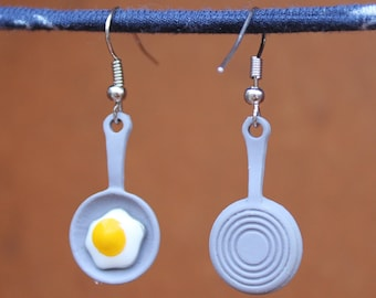 Fried Egg Earrings, Frying Pan Earrings, Breakfast Earrings, Brunch Earrings