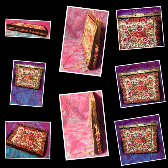 Dramatic Carpet Bag Fabric Purse - image 9