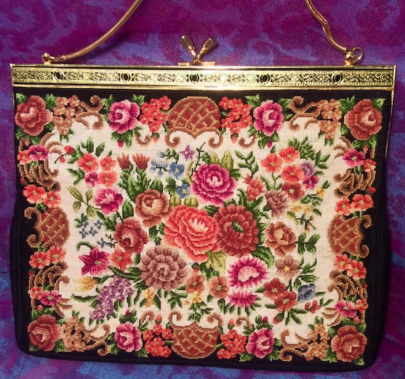Dramatic Carpet Bag Fabric Purse - image 1