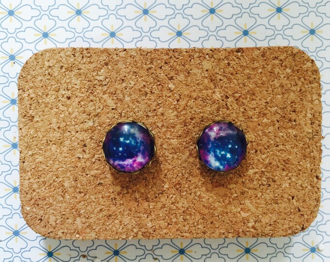 Galaxy earrings outer space  jewelry jewellery gift idea girl cute fun